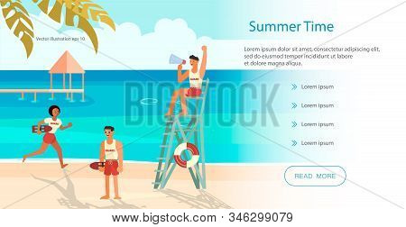 Landing Web Page Template With Male And Female Lifeguards, Professional Rescuer On The Beach. Flat A