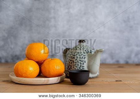 Accessories On Lunar New Year & Chinese New Year Vacation Concept Holiday Background.orange In Wood