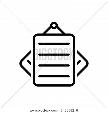 Black Line Icon For Notes Paper Notepaper Remember Concept Document Stationery