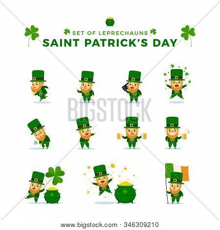 St. Patrick's Day. Set Of Leprechauns. Vector Illustration.