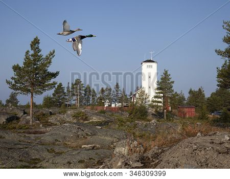 Nordmaling, Sweden On September 01. View Of A Former Lighthouse, Pilot Station From The Seaside On S