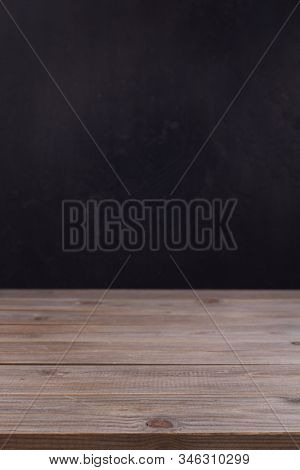 wooden plank board table background as texture surface, front view