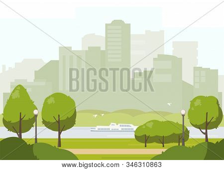 City Park Landscape Flat Illustration. Stock Vector. Spring Or Summer Park With Green Trees, Walkway