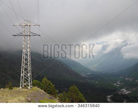 Power Line In Spring Mountain In Summer