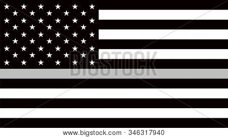 Usa Flag With A Thin Gray Or Silver - A Sign To Honor And Respect American Correctional Officers, Pr