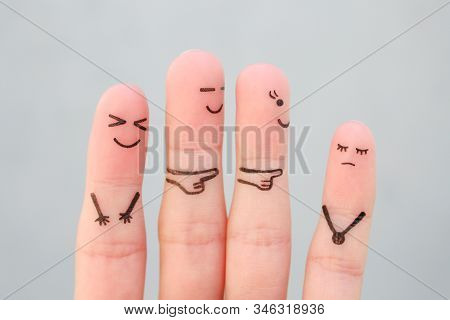 Fingers Art Of People. Concept Children Bullying Their Classmate.