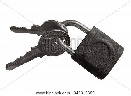 Lock With Keys Isolated On White Background. Clipping Path Included.