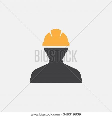 Construction Worker Icon Vector Person Profile Avatar With Hard Helmet And Jacket, Builder Man In A
