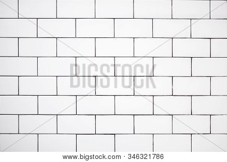 White Classic Ceramic Tiles On The Wall In The Bathroom, Brick Tiles, Background