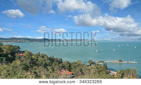 Panoramic View From Tihany To Lake Balaton,hungary