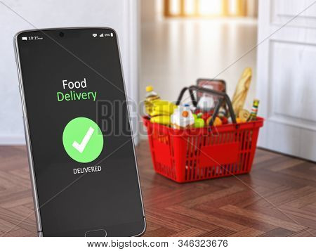 Food and eats delivery concept. Mobile phone and shopping basket with grocery in front of open door. 3d illustration