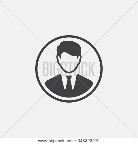 Business Man Flat Icon Design, Human Resource And Businessman Icon Concept, Man Icon In Trendy Flat