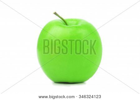 Perfect Fresh Green Apple Isolated On White Background In Full Depth Of Field. Single Bio Organic He