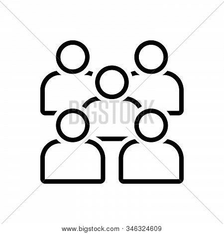 Black Line Icon For Mobilisation Mobilization Crowd Concourse Group Congestion People