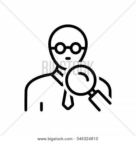 Black Line Icon For Mavens Expert Connoisseur Magnifyglass People Search Find