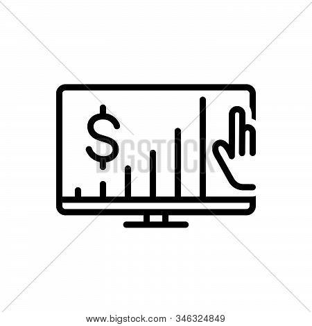 Black Line Icon For Maximize Sales Marketing Hand Increase Growth Screen