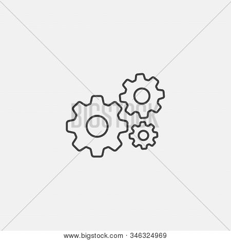 Service Tool Icon, Gear Service Flat Icon, Tool Symbol And A Gear Flat Icon