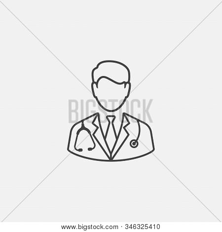 Doctor With Stethoscope Linear Icon Design, Physician Doctor Flat Vector Icon For Apps And Websites,