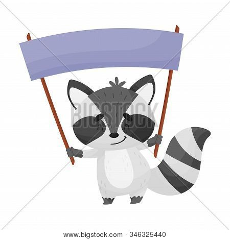 Smiling Little Raccoon Holding Banner With Copyspace Vector Illustration