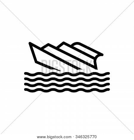Black Line Icon For Shipwreck Capsized Stormy Waves Crashing  Transport Rafting