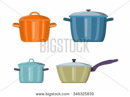 Sauce Pan With Lid Icon. Clean Sauce Pan Isolated. On White Background. Web Page Design Template Pos