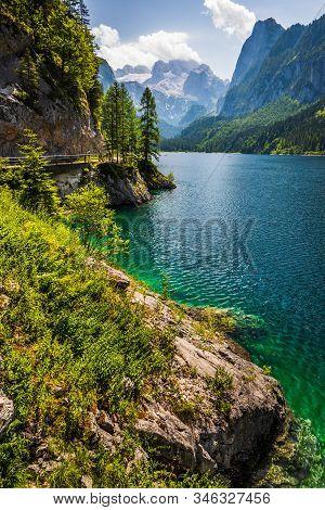Vorderer Gosausee Lake With Dachstein Behind, Austria