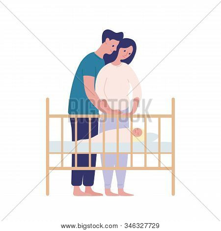 Mother And Father Watching At Sleeping Baby Flat Vector Illustration. Parenting, Family Together Iso