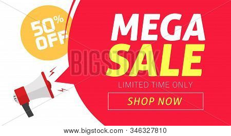Mega Sale Banner Design With Off Price Discount Offer Tag And Megaphone Announce Vector Illustration