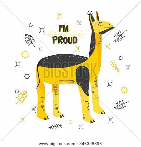 Cartoon Character Of Proud Lama. Cute Animal Of Yellow-black Color With Satisfied Facial Expression.