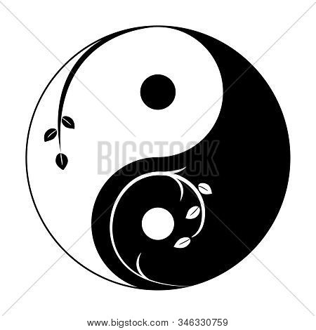 Decorative Yin Yang Symbol. Abstract Yin-yang Icon With Sprigs And Leaves. Vector Illustration. Styl