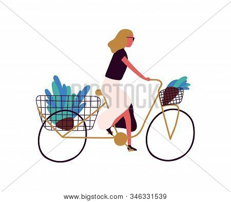 Active Trendy Woman Riding Bicycle With Flower At Basket Vector Flat Illustration. Stylish Female On