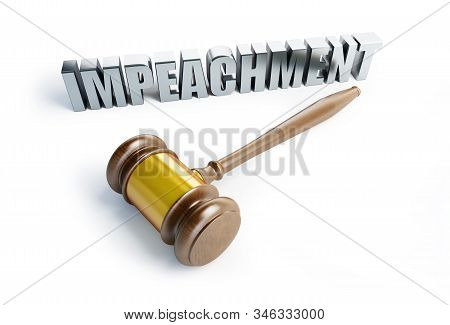 Impeachment Procedure Law, Gavel On A White Background 3d Illustration, 3d Rendering