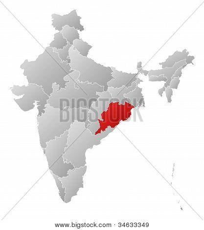 Karta över Indien, Orissa belyst