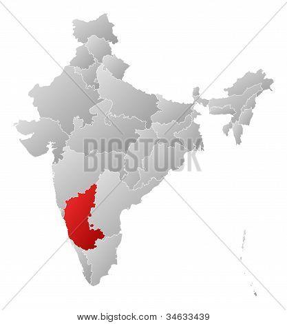 Karta över Indien, Karnataka belyst