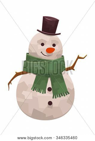 Kind Cute Snowman With Scarf And Hat Smiling Vector Illustration