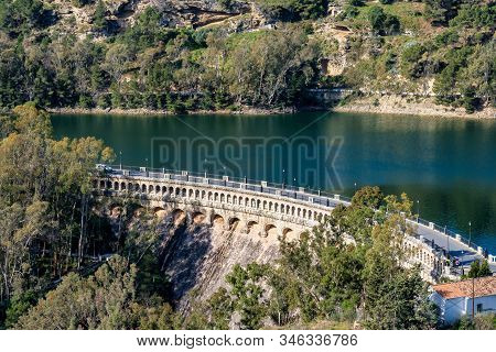Viaduct Over The Embalse Del Conde De Guadalhorce Reservoir Near Ardales, Andalusia, Spain, Europe,