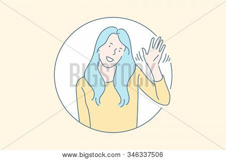 Friendly Nonverbal Greeting Gesture Concept. Cheerful, Smiling, Cute Young Girl Waving Hand, Saying