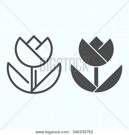 Macro Line And Solid Icon. Macro Photography Vector Illustration Isolated On White. Flower In Macro