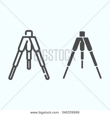 Tripod Line And Solid Icon. Tripod Without Camera Vector Illustration Isolated On White. Camera Trip