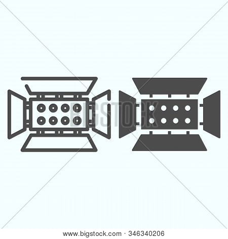 Spotlight Line And Solid Icon. Lamp To Power Light For Photography Vector Illustration Isolated On W