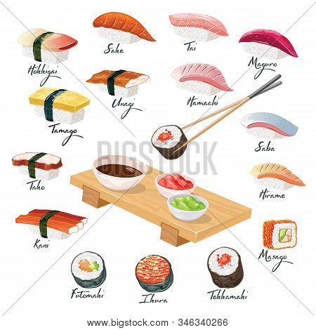 Big Vector Set With Japanese Sushi, Sashimi, Makizushi, Norimaki Grouped Around Wooden Geta Tray Wit