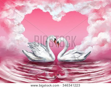 Two White Swan Birds On A Pond Together On The Background Of The Sky With Clouds In The Shape Of A H