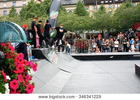 Stockholm, Aug 21. 2019 - Boy Skateboarding Jump Lifestyle Hipsters