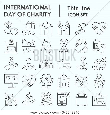 Day Of Charity Thin Line Icon Set, Charity Set Symbols Collection, Vector Sketches, Logo Illustratio