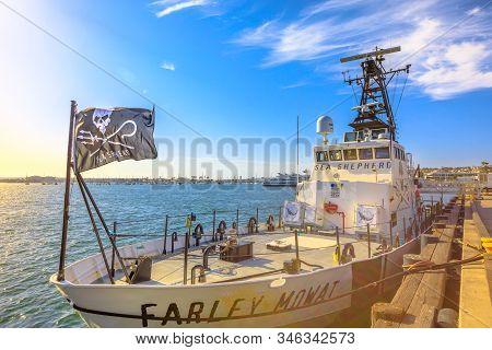 San Diego, Navy Pier, California, United States - August 1, 2018:farley Mowat Ship Of The Sea Shephe