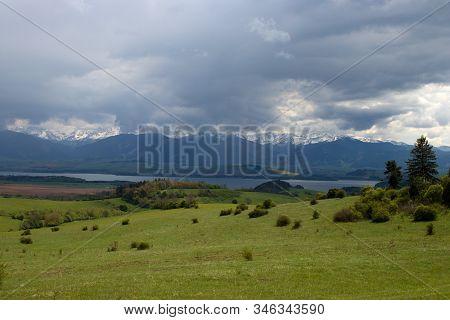 Beaufiful Slovakia Moutain With Storm, Rohace Tatra, Lake Liptovska Mara, Kvacany, Prosiek
