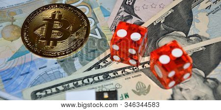 Casino Gambling Concept Image Of Money, Dice And Bitcoins