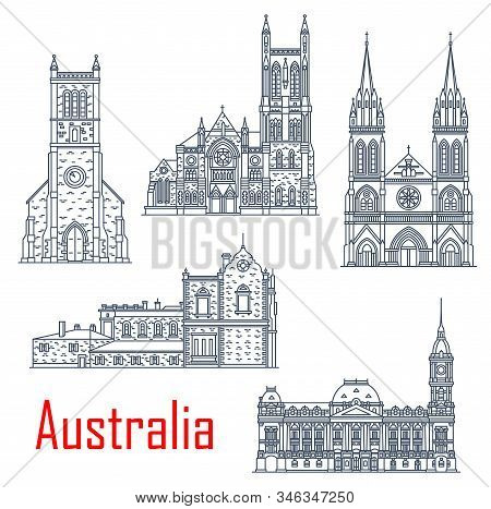 Australian Isolated Vector Landmarks. Vector St. Peter Cathedral, Melbourne Town Hall, Old Parliamen