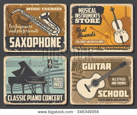 Saxophone And Guitar, Classic Piano And Violin Musical Instruments, Retro Vector. Music Notes Silhou