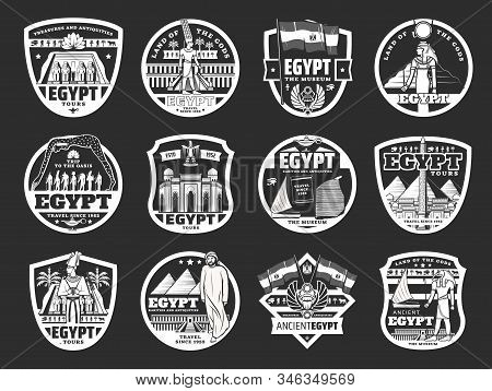 Ancient Egyptian Gods, Pyramids And Landmark Icons. Vector Egyptian Travel , History And Religion Mo